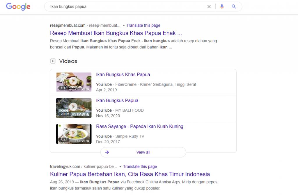 Kata kunci Ikan bungkus Papua di Google
