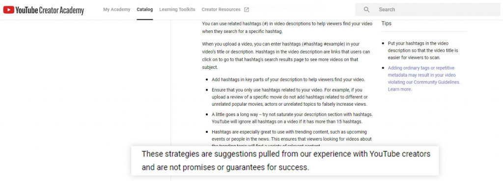 pernyataan YouTube tentang hashtag bukan sebuah jaminan