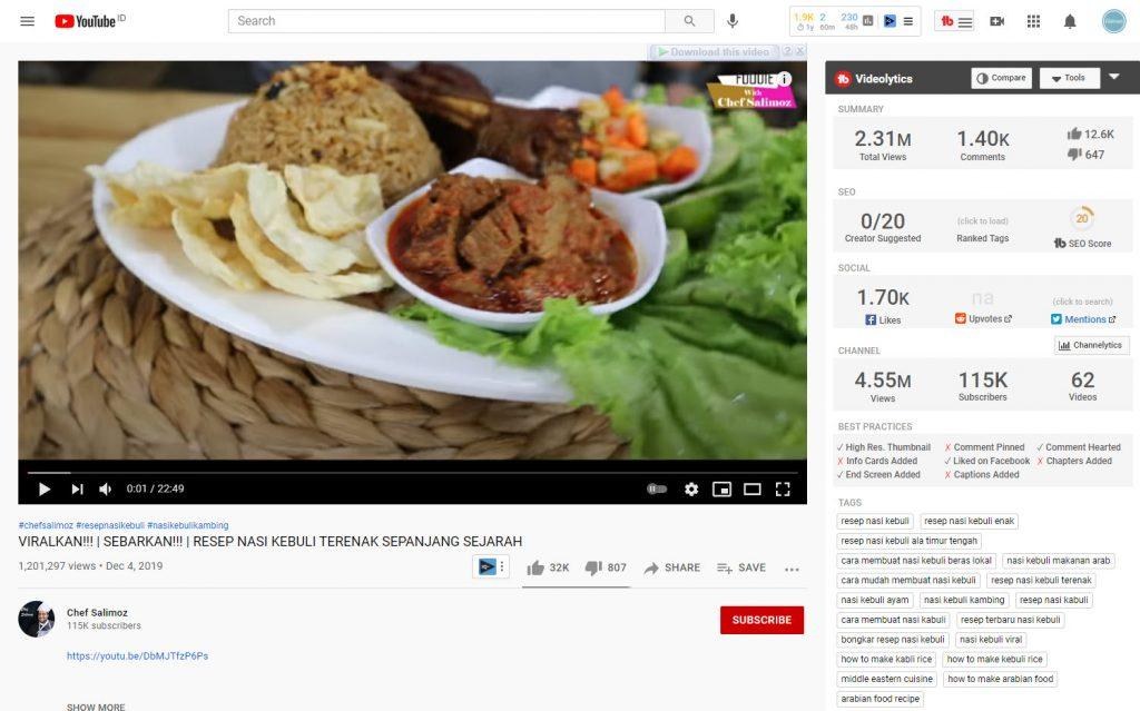 Extension TubeBuddy untuk melihat tag video