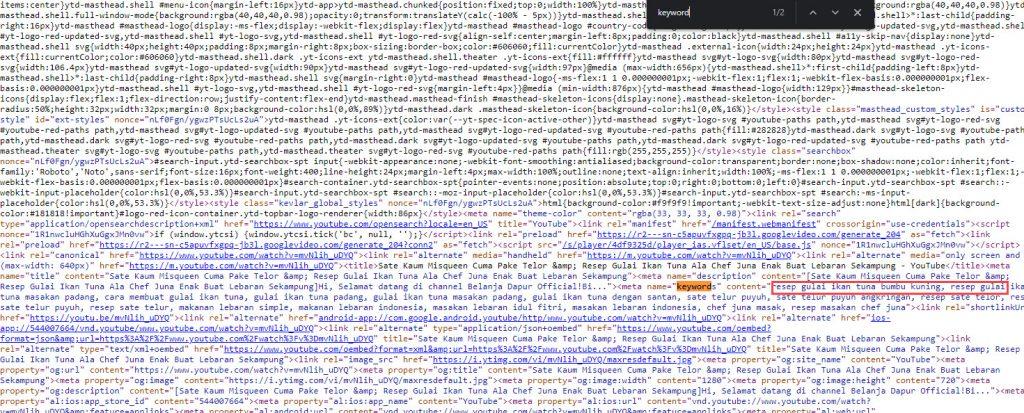View source CTR F untuk mengetahui tag YouTube
