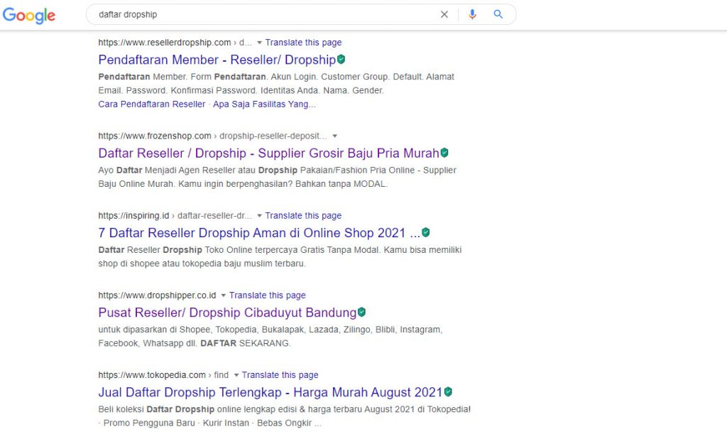 Daftar Dropship